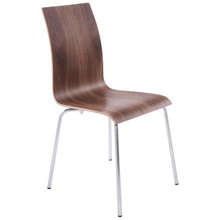 Chaise polyvalente OUST en bois et métal chromé (noyer)
