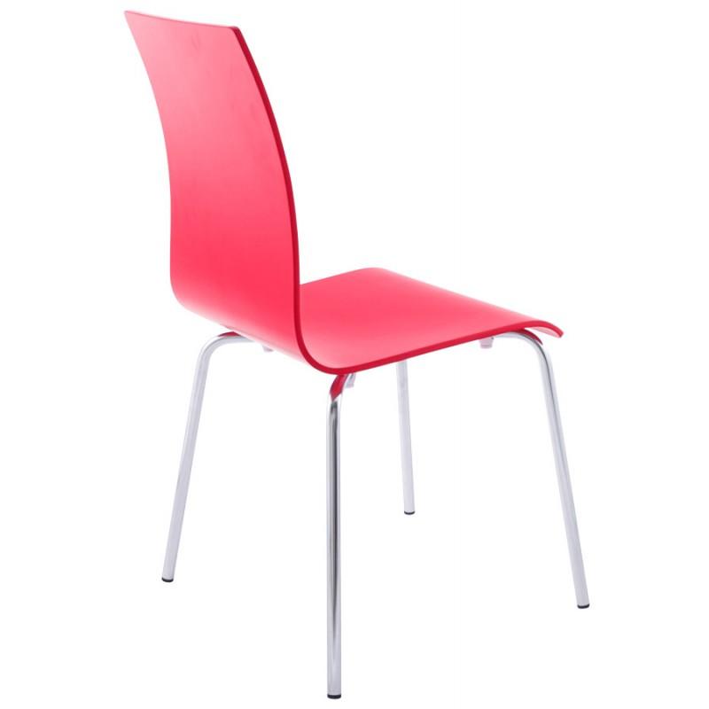 Sedia versatile legno OUST e metallo cromato (rosso) - image 16879