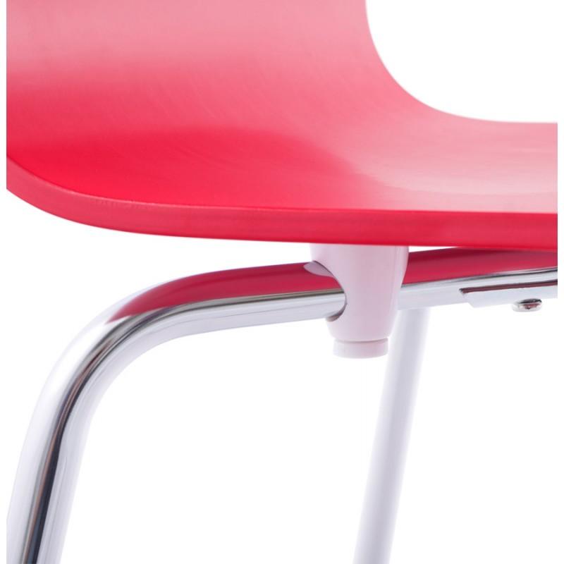 Sedia versatile legno OUST e metallo cromato (rosso) - image 16880
