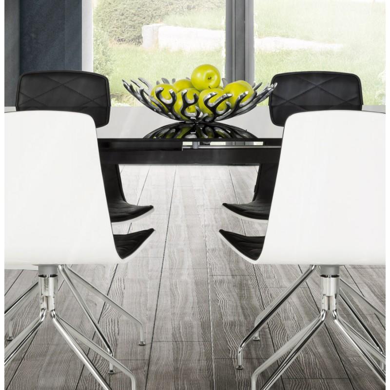 9e1f1745ddeca ... Chaise contemporaine SIOULE en polyuréthane et métal chromé (blanc et  noir) ...