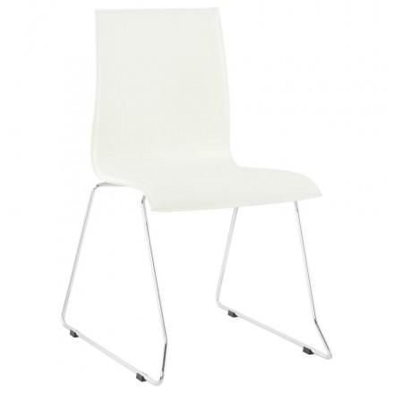 Chaise design SOMME en polyuréthane et métal chromé (blanc)