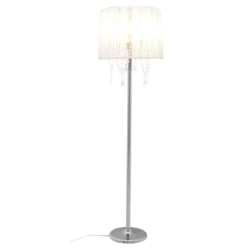 lampe sur pied design merion en tissu et acier chrom blanc. Black Bedroom Furniture Sets. Home Design Ideas