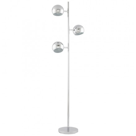 Design floor lamp 3 shades TANGARA in chromed steel (chrome)