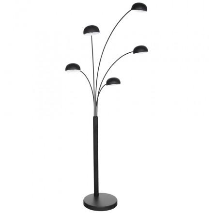Lampe sur pied design 5 abat-jours ROLLIER en métal peint (noir)