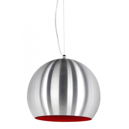 Design pendant ARGUS metal lamp (brushed steel and red)