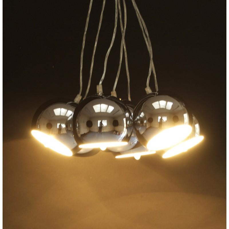 Lampe suspension design bare en m tal chrom for Lampe design suspension