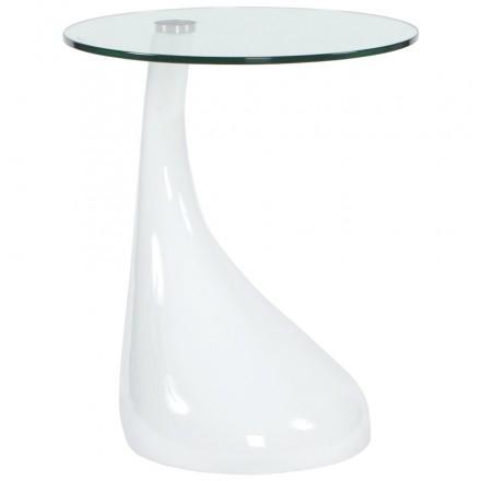 Vidrio templado consola o mesa auxiliar de fibra TARN (blanco)