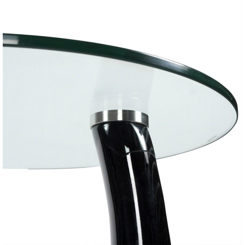 Console ou table d 39 appoint tear en fibre de verre tremp noir - Console verre trempe ...