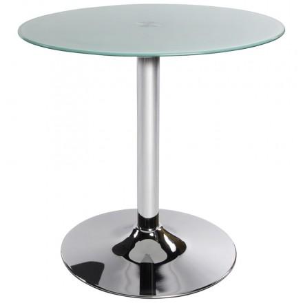 Table ronde VINYL en métal et verre trempé (blanc)