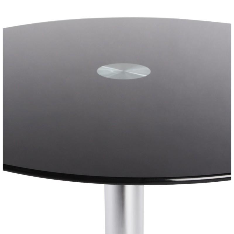 Table ronde verre tremp noir noel 2017 for Table exterieur verre trempe