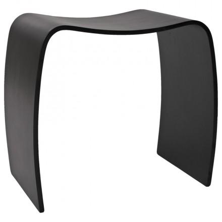 Tabouret bas MEUSE en bois peint (noir)