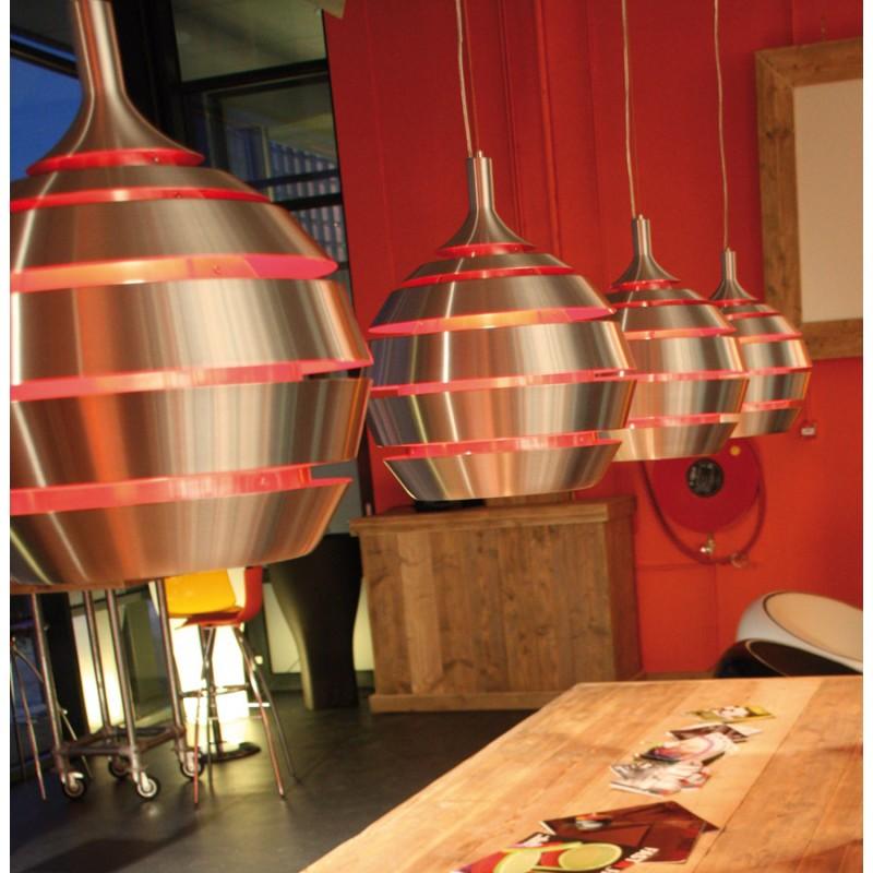 Lampe suspendue design TROGON en métal (rouge et argent) - image 18100