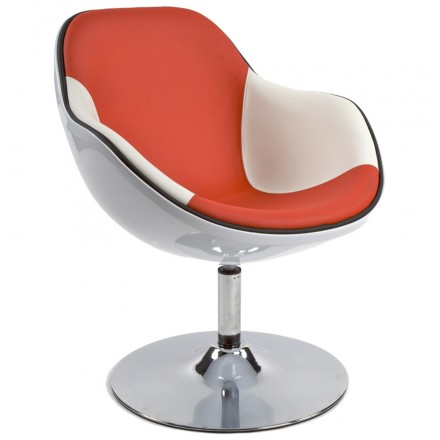 Design armchair RHONE rotary (white and red)