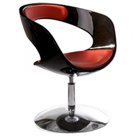 Design armchair RHIN in ABS (high-strength polymer) (black and red)