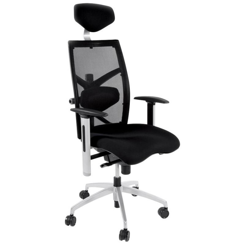 fauteuil de bureau cornue en tissu noir