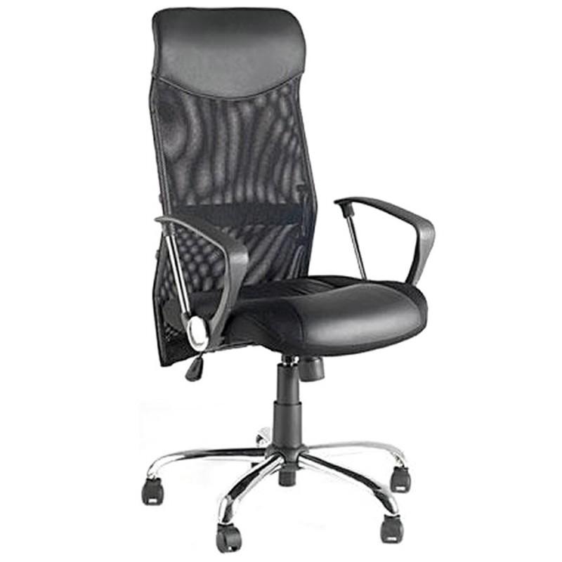 fauteuil de bureau condor en polyur thane et tissu maille noir. Black Bedroom Furniture Sets. Home Design Ideas