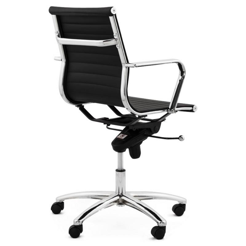 fauteuil de bureau rotatif couris en polyur thane noir. Black Bedroom Furniture Sets. Home Design Ideas