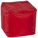 Pouf carré CALANDRE en textile (rouge)