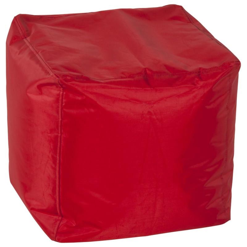 Pouf carré CALANDRE en textile (rouge) - image 18695