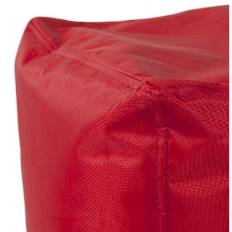 Pouf carré CALANDRE en textile (rouge) - image 18696