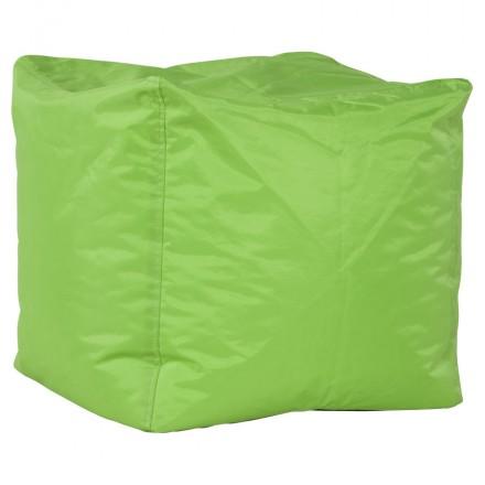 Pouf carré CALANDRE en textile (vert)