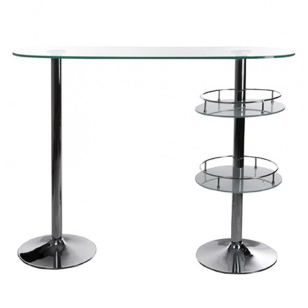Furniture design bar BORA BORA glass and metal chrome (transparent)
