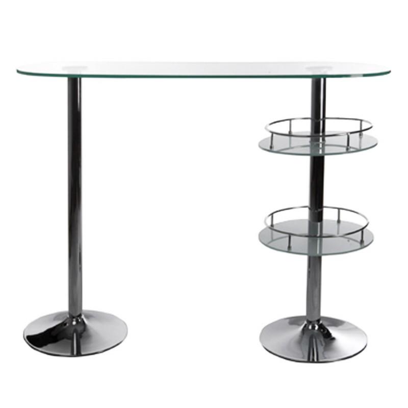 Meuble bar design BORA BORA en verre et métal chromé (transparent) - image 19803