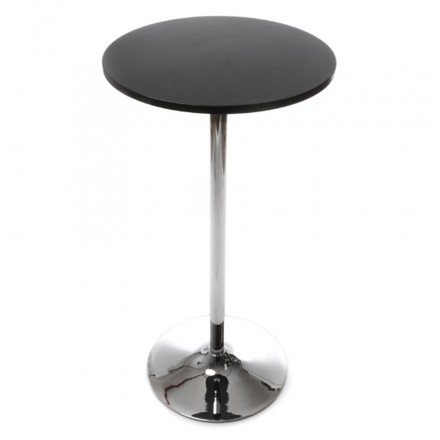 Side table high BALEARES wood and chrome metal (Ø 60 cm) (black)