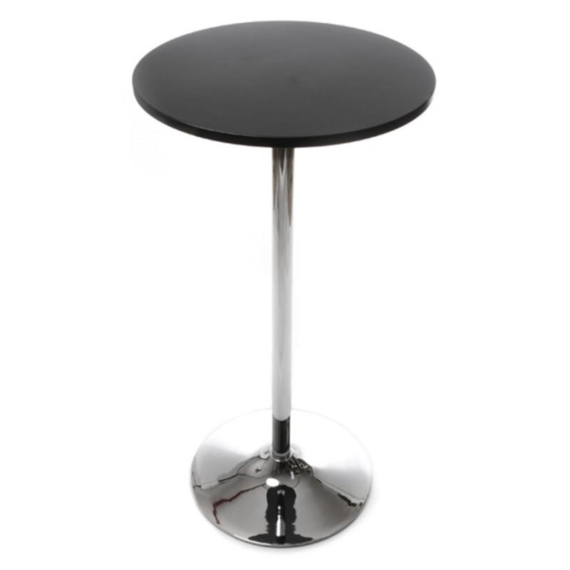 Table haute d'appoint BALEARE en bois et métal chromé (Ø 60 cm) (noir) - image 19811