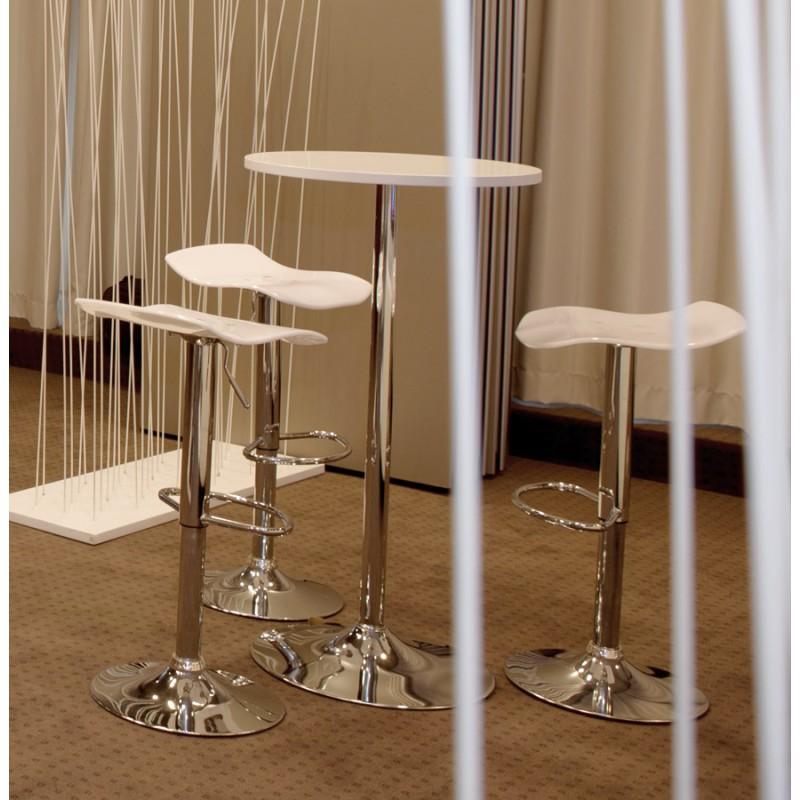 Table haute d'appoint BALEARE en bois et métal chromé (Ø 60 cm) (blanc) - image 19825