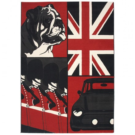 Contemporary Rugs large rectangular ENGLISH model (160 X 230) (black, red, white)