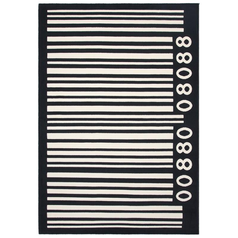 Tapis contemporain BARCODE rectangulaire grand modèle (160 X 230) (noir, blanc)