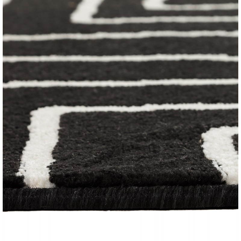 tapis contemporain et design rafy rectangulaire 160 x 230 noir blanc. Black Bedroom Furniture Sets. Home Design Ideas