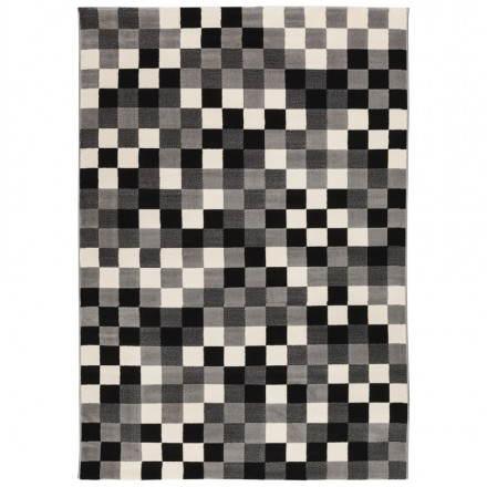 Tapis contemporain et design RONY rectangulaire (noir, gris, blanc)