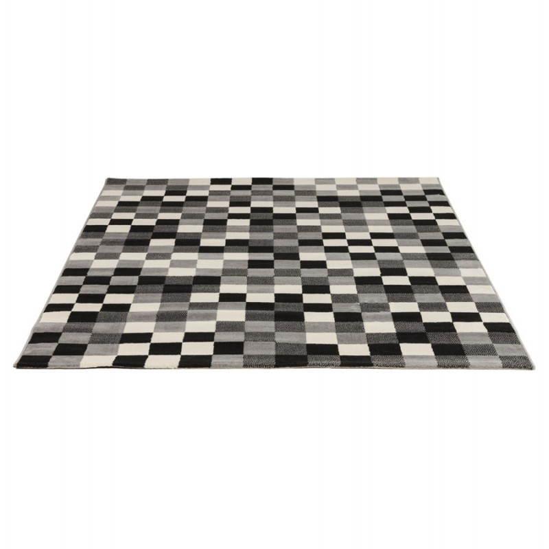 Tapis contemporain et design RONY rectangulaire (noir, gris, blanc) - image 20483