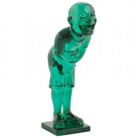 Statuette forme bonhomme souriant MOUSSON en fibre de verre (vert)