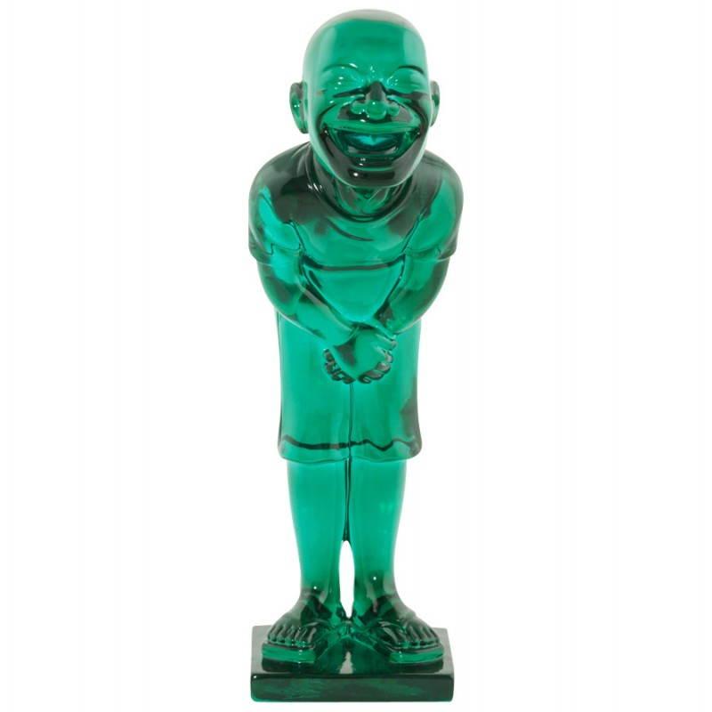 Estatua sonriente MOUSSON de fibra de vidrio con forma de muñeco de nieve (verde) - image 20546