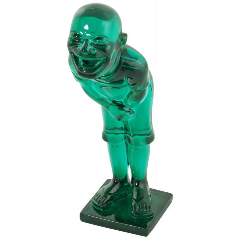 Estatua sonriente MOUSSON de fibra de vidrio con forma de muñeco de nieve (verde) - image 20551