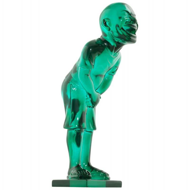 Estatua sonriente MOUSSON de fibra de vidrio con forma de muñeco de nieve (verde) - image 20552