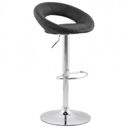 Contemporary round and adjustable bar stool IRIS (black)