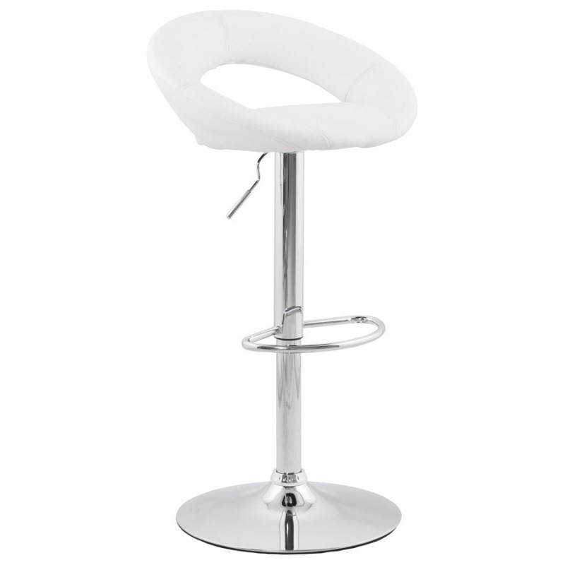 Contemporary round and adjustable bar stool IRIS (white) - image 20626