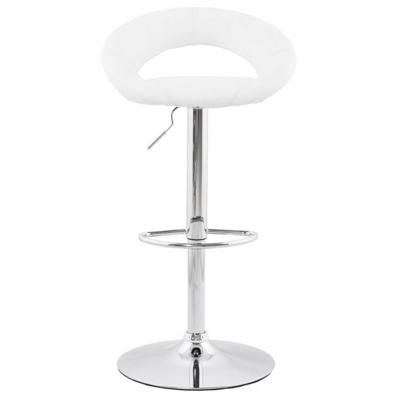 Contemporary round and adjustable bar stool IRIS (white) - image 20627