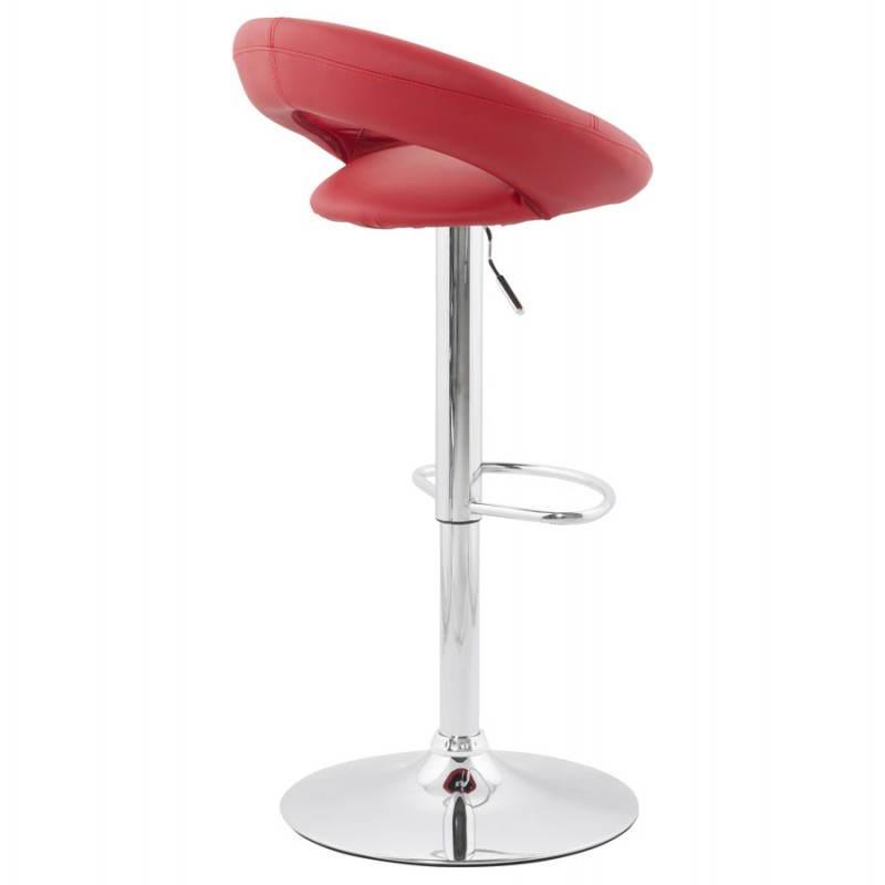 Tabouret de bar rond contemporain rotatif et réglable IRIS (rouge) - image 20648