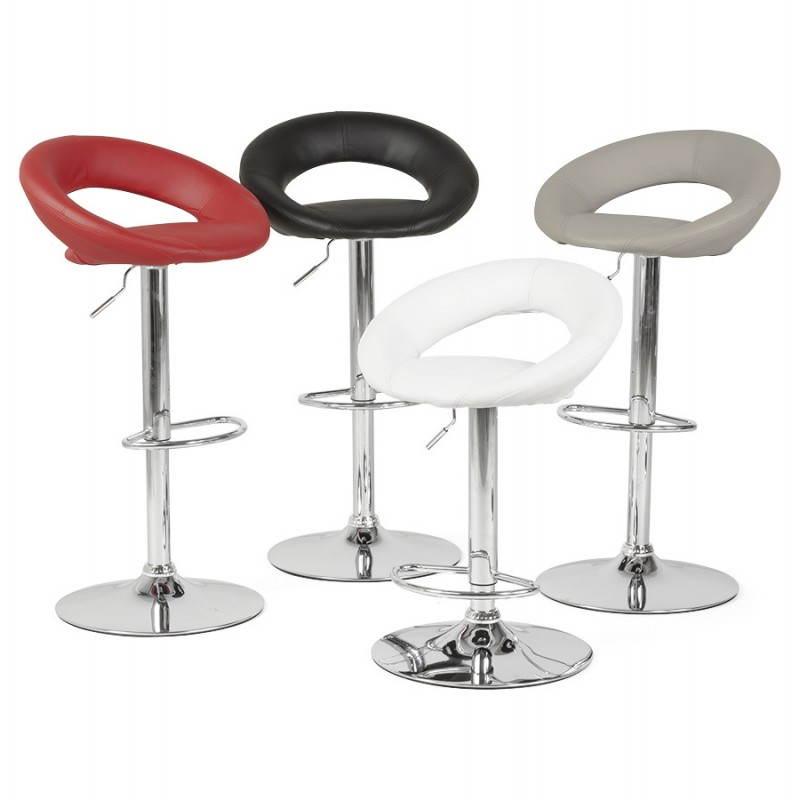 Tabouret de bar rond contemporain rotatif et réglable IRIS (rouge) - image 20663