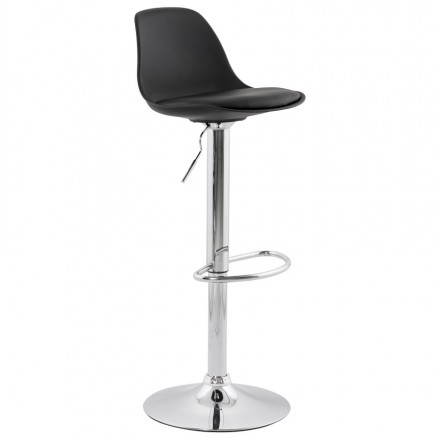 Contemporary round and adjustable bar stool ROBIN (black)