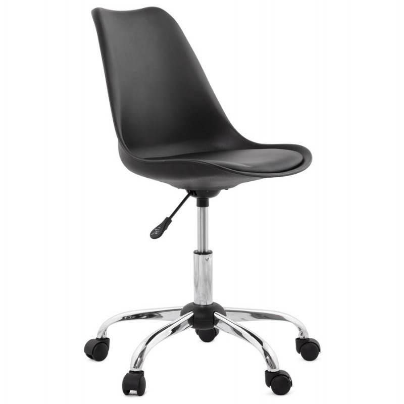 Chaise de bureau design PAUL en polyuréthane et métal chromé (noir) - image 20696