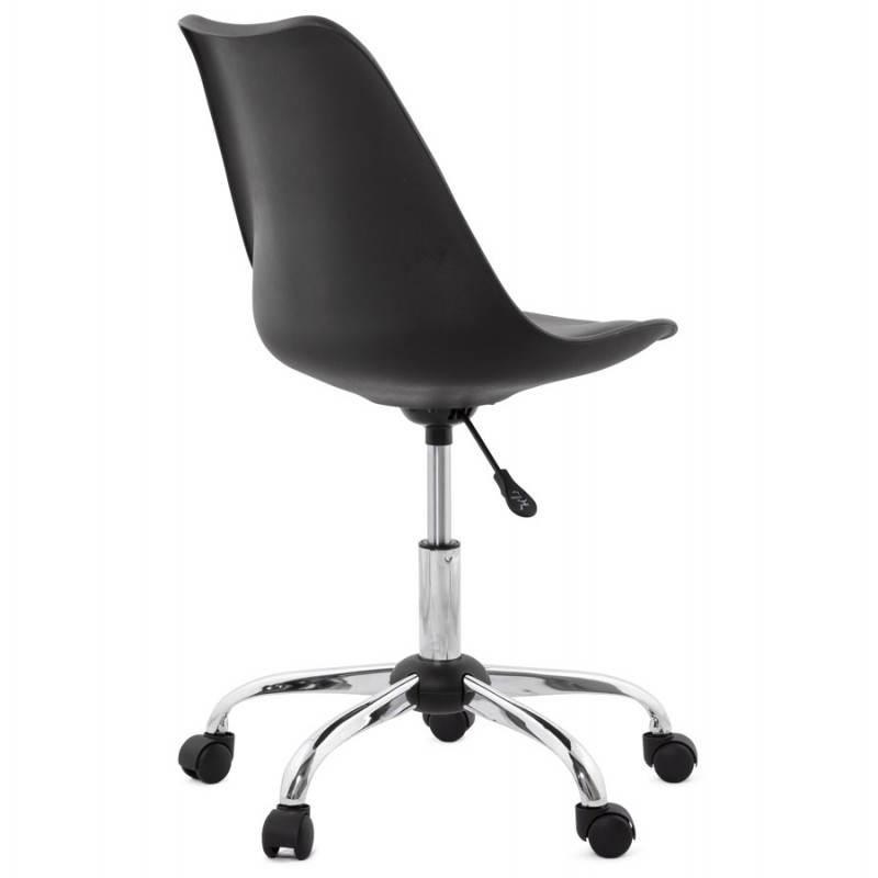 Chaise de bureau design PAUL en polyuréthane et métal chromé (noir) - image 20699