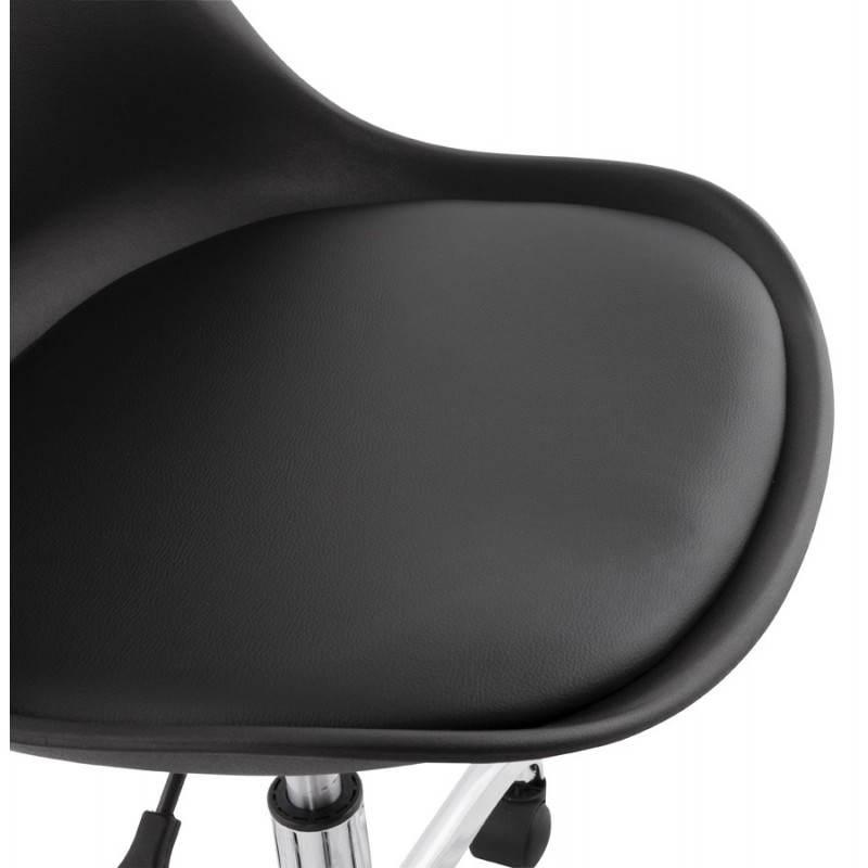 Chaise de bureau design PAUL en polyuréthane et métal chromé (noir) - image 20703