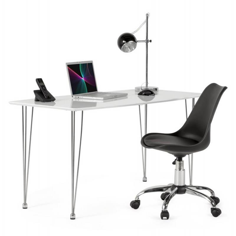 Chaise de bureau design PAUL en polyuréthane et métal chromé (noir) - image 20708