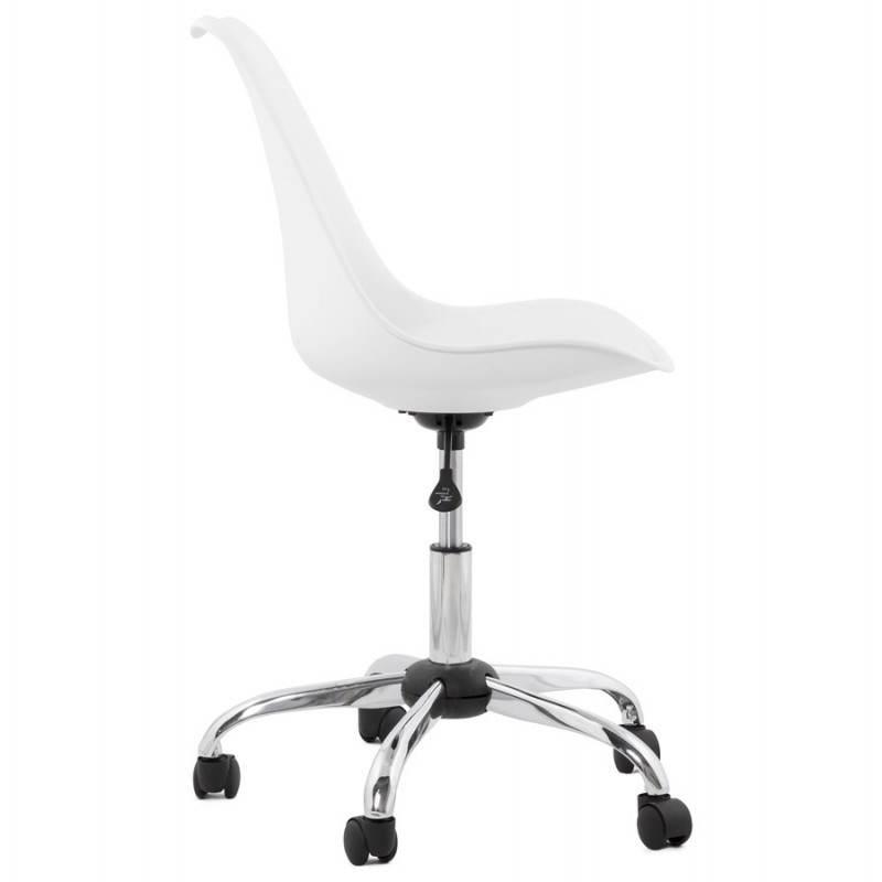 Chaise de bureau design PAUL en polyuréthane et métal chromé (blanc) - image 20712